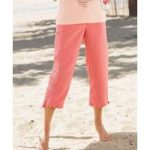 Crop Embroidered Microfibre Trousers
